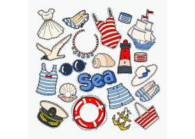 高跟鞋泳装海鸥太阳镜船锚沙滩救生圈主题插画标签标贴设计