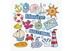 潜水穿脱帆船珊瑚礁螃蟹潜水艇水手服灯塔船锚救生圈主题插画标签