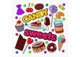 蛋糕甜品糖果巧克力主题插画标签标贴设计
