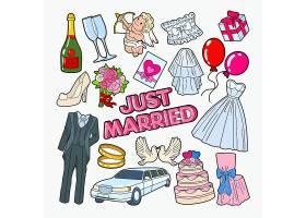 结婚西服婚纱气球礼物汽车戒指蛋糕主题插画标签标贴设计