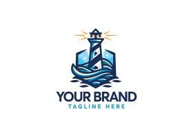 海上灯塔主题矢量LOGO图标徽章设计