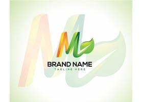 清新绿色叶子字母M主题矢量LOGO图标徽章设计