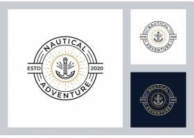船锚主题矢量LOGO图标徽章设计