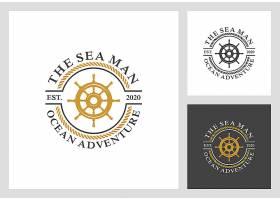 船舵主题矢量LOGO图标徽章设计