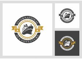 货轮轮船海运水运主题矢量LOGO图标徽章设计