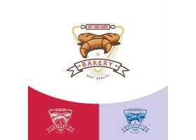 牛角包蛋糕主题矢量LOGO图标徽章设计