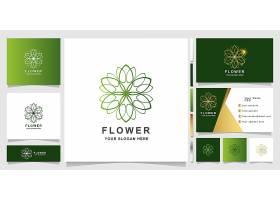 绿色花瓣主题矢量LOGO图标徽章设计