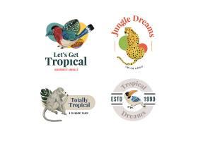 鹦鹉豹子鸟类猿猴猩猩主题矢量LOGO图标徽章设计