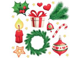 圣诞节装饰球铃铛矢量插画设计