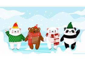 圣诞节动物们主题banner横幅背景插画设计