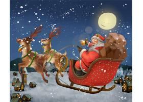 圣诞节送礼物的圣诞老人雪橇驯鹿插画设计
