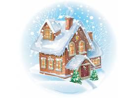圣诞节大雪纷飞的房子矢量插画设计