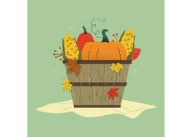 丰收农作物南瓜玉米主题秋季清新矢量插画素材