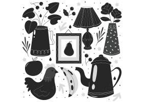 茶壶香蕉公鸡橘子台灯装饰画花瓶矢量装饰插画