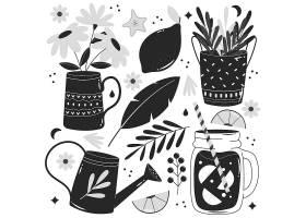 花洒玻璃杯柠檬花瓶植物矢量装饰插画