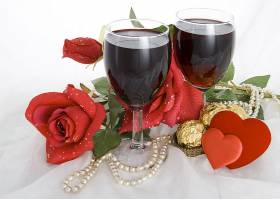 玫瑰花与红酒