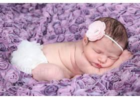 紫色花卉与可爱的婴儿