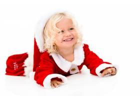 穿圣诞节服装的金发儿童