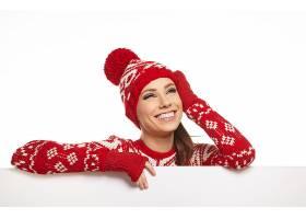 冬季圣诞节红白花纹图案针织衫欧美女性