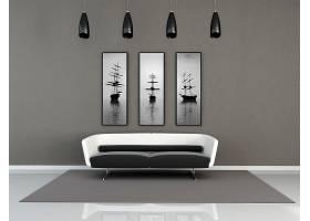 简约客厅沙发与装饰画