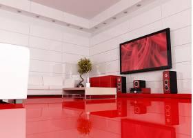 红色地板客厅与电视音响家具