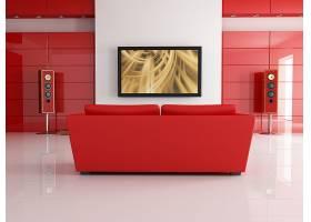 红色风格的电视客厅