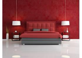红色卧室房间