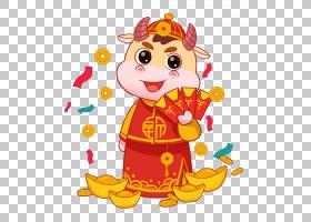2021年新年牛财神喜庆新年