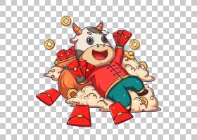 牛发红包牛年国潮卡通牛形象