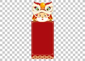 牛年舞狮红包春节矢量边框元素