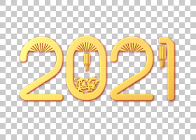 金色剪纸浮雕风新年牛年2021年字体设计图片