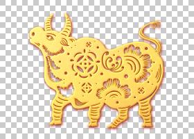 金色剪纸浮雕风新年福牛装饰元素