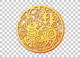 金色浮雕剪纸风牛气冲天新年福牛免抠元素