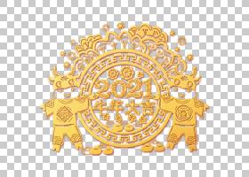 金色浮雕立体牛年大吉剪纸设计元素
