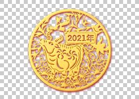 金色立体浮雕2021福牛剪纸窗花装饰元素