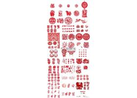 红色中国传统剪纸图案