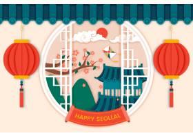 传统大红灯笼韩国新年
