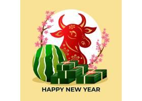 公牛和泰特蛋糕2021年越南新年快乐