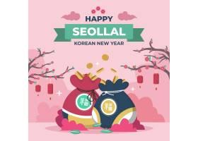 平面设计中的Seollal韩国新年