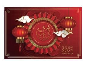 2021年喜庆中国红新年海报