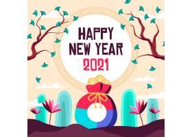 2021扁平设计硬币钱包韩国新年