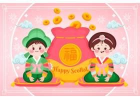 有压岁钱的文字和钱包韩国新年