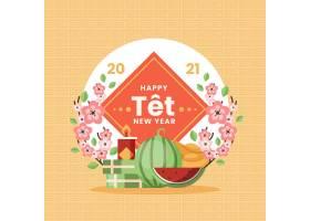 越南新年西瓜和鲜花矢量素材