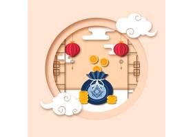 韩国新年纸质硬币钱包矢量素材