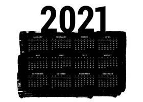 水墨笔迹风格黑色2021年日历设计模板
