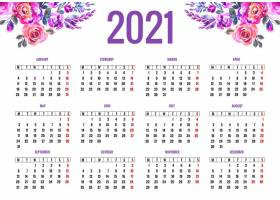 美丽的2021年日历五颜六色的花卉设计