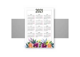 装饰色彩鲜艳的花卉2021年日历设计