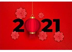 中国传统红色2021上的鲜花和灯笼