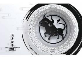 黑白水墨画手工艺风格的中国新年牛年