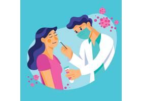 病人妇女和医生在做鼻拭子测试_82996850101